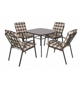 Baštenski set Veneto - Sto i 4 stolice  karirani