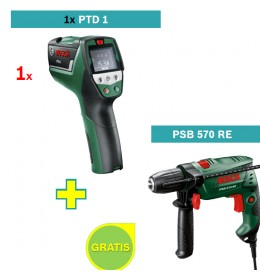 Detektor temperature i vlažnosti PTD 1 + Bosch PSB 570 RE Vibraciona bušilica