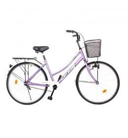 """Ženski gradski bicikl Glory Bike 26"""" nožna kočnica Ljubičasti"""