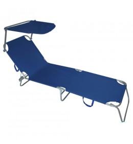 Ležaljka za baštu sa tendom plava