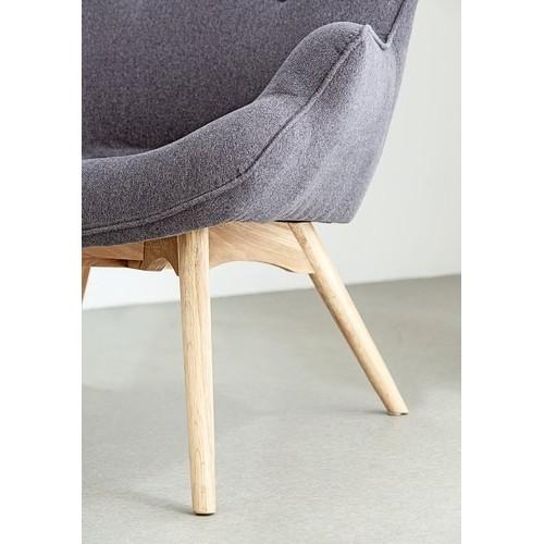 Fotelja Eho sa tabureom siva/hrast