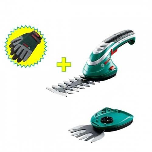 Set aku makaza za žbunje i travu+prskalica Bosch Isio III + rukavice