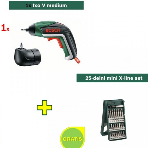 Akumulatorski odvijač Bosch IXO V - 25-delni mini X-line set