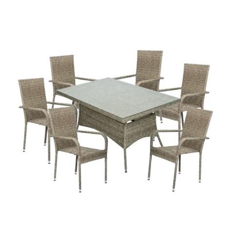 Baštenska garnitura Bay sto i 6 Bay stolica siva