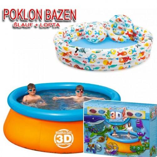 Bazen igraonica 3D Ariel + poklon bazen za decu+lopta+šlauf