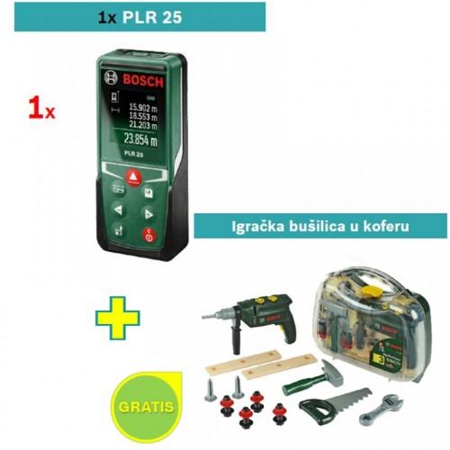 Digitalni laserski daljinomer Bosch PLR 25 + Igračka bušilica u koferu