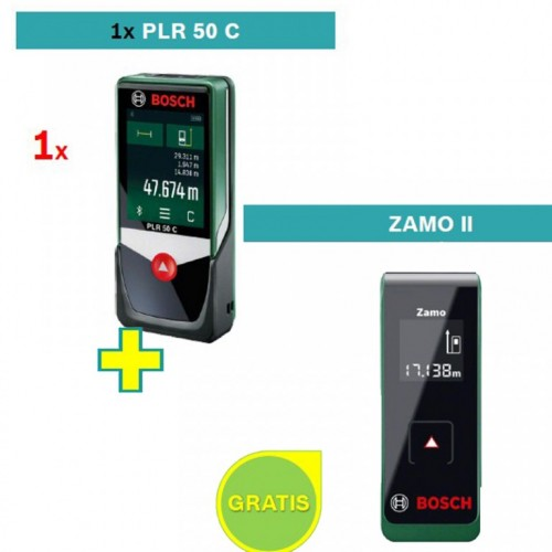 Digitalni laserski daljinomer Bosch PLR 50 C sa poklonom Bosch Zamo II