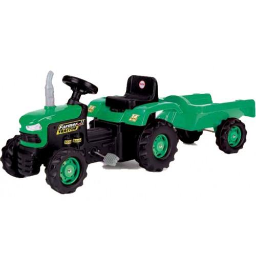 Dolu Traktor sa prikolicom na pedale Zeleni