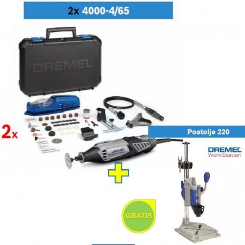 Višenamenski alat DREMEL 4000 sa 65 kom pribora 2kom + poklon Dremel postolje 220
