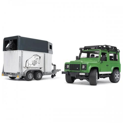 Džip Land Rover BRUDER sa prikolicom za konje i figura
