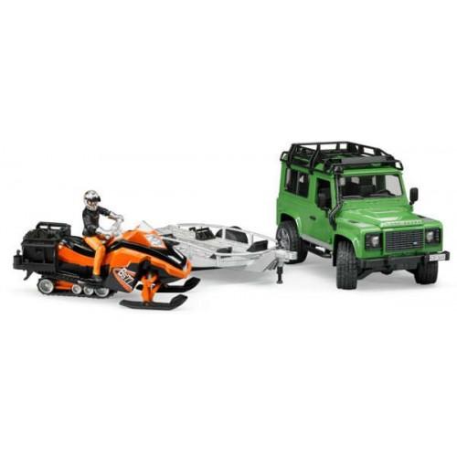 Džip Land Rover sa prikolicom i motornim sankama BRUDER