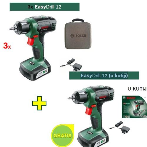 Aku bušilica Bosch EasyDrill 12 3 kom + EasyDrill 12(u kutiji) GRATIS