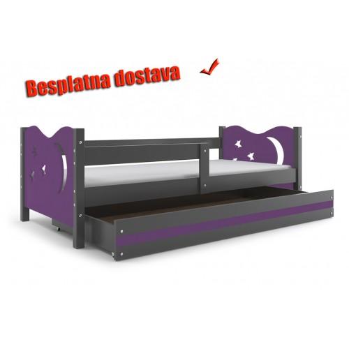 Dečiji krevet Elegant Graphite ljubičasti 160x80 cm sa fiokom i dušekom