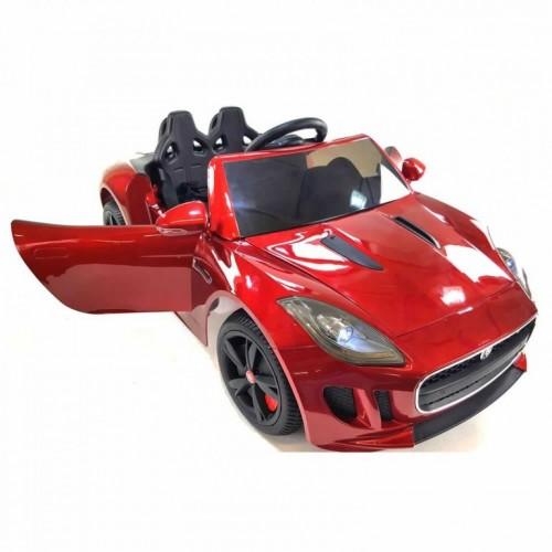 Autić na akumulator Jaguar licencirani sa kožnim sedištem i mekim gumama - Crveni