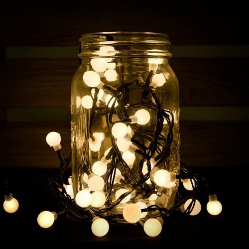 Novogodišnje lampice LED biserni niz 180 sijalica toplo bela