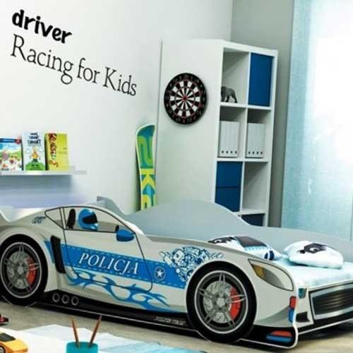 Dečiji krevet Police Racer beli 160x80 cm sa dušekom
