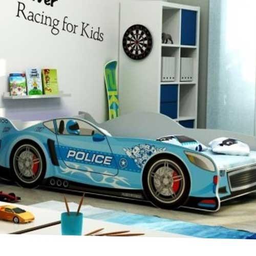 Dečiji krevet Police Racer plavi 160x80 cm sa dušekom