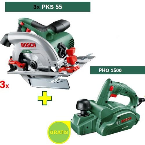 Kružna testera Bosch PKS 55 3 kom + Električno rende Bosch PHO 1500