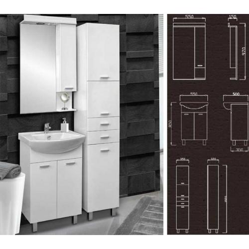Kupatilski set Klasik sa umivaonikom, ogledalom i ormarom sa korpom