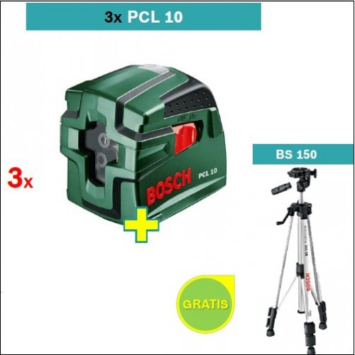 Laser za ukrštene linije Bosch PCL 10 3 kom + Stativ BS 150 gratis