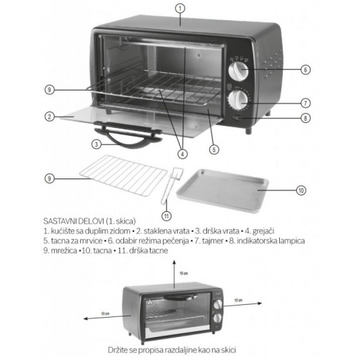 Mini pećnica sa tajmerom HG-MS09