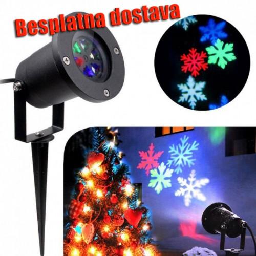 Novogodišnji LED Projektor Sa Rotirajućim Pahuljicama