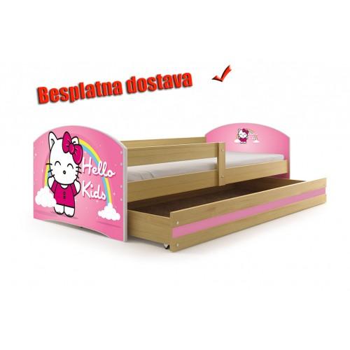 Dečiji krevet Lookie Pine 160x80 cm sa dušekom dezen 03