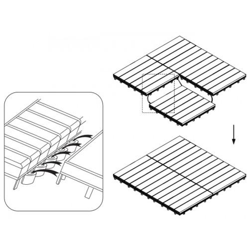 Podna obloga drvena od 9 elemenata 90x90cm