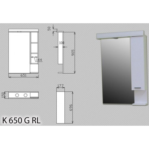 Polica Za Kupatilo Sa Ogledalom i Svetlom K 650 G