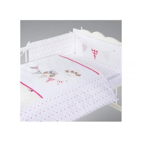 Posteljina za bebu Set 5 delova Night birds pink