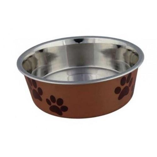 Posuda za psa šapice 21 cm naranđasto-braon