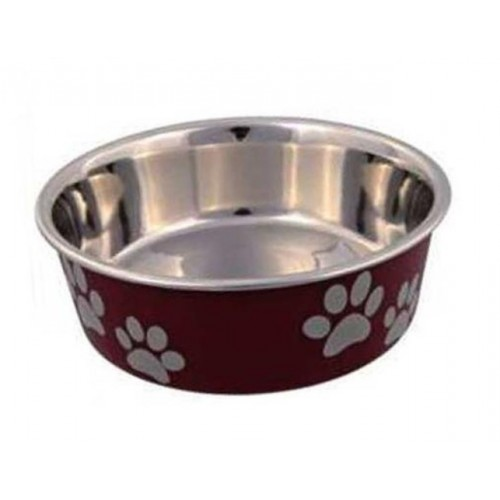 Posuda za psa šapice 21 cm crvena