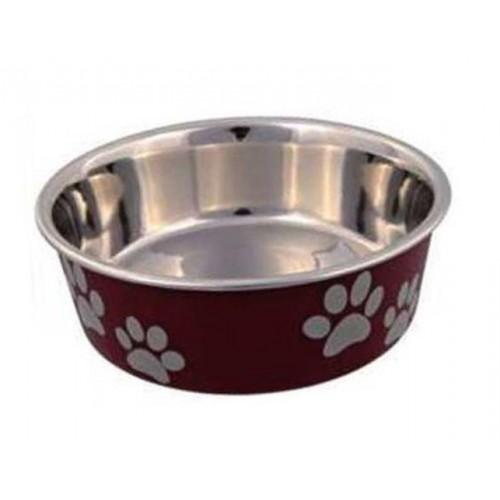 Posuda za psa Šapice 17 cm Crvena