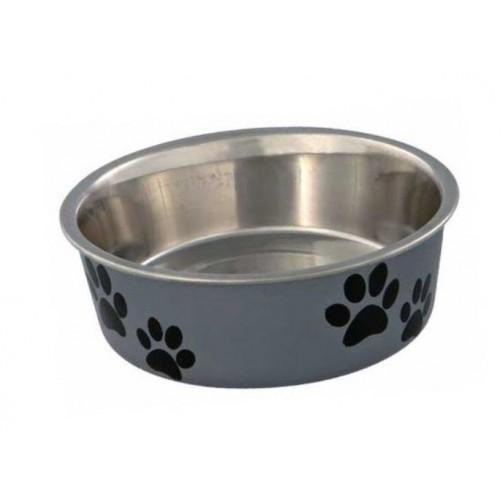 Posuda za psa šapice 21 cm siva
