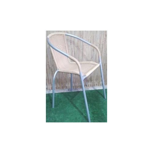 Ratan baštenska stolica bež