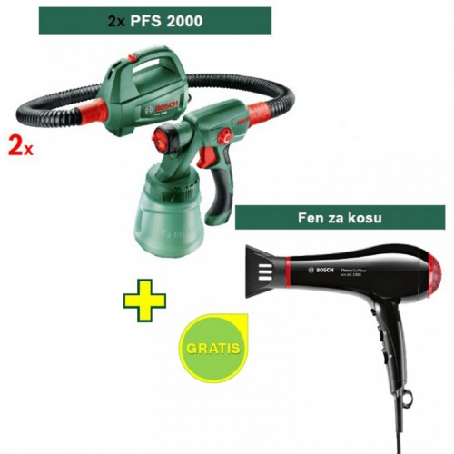 Sistem za prskanje boje Bosch PFS 2000  2 kom + Fen za kosu