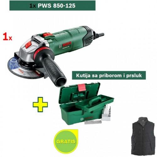 Ugaona brusilica Bosch PWS 850-125 + Kutija sa priborom i Bosch prsluk