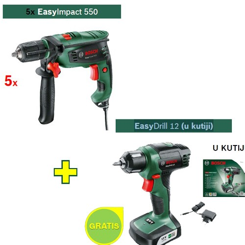 Vibraciona bušilica Bosch EasyImpact 550 5 kom + 1xEasyDrill 12 (u kutiji) GRATIS
