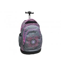 Ranac za školu sa točkićima grey pink 160113