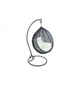 Ljuljaška okrugla ratan crni cvetni jastuci