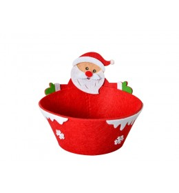 Ukrasna novogodišnja crvena korpica Sdeda Mraz
