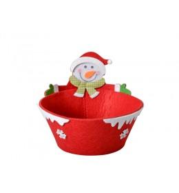 Ukrasna novogodišnja crvena korpica Sneško