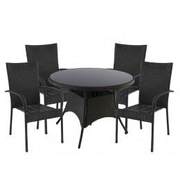 Baštemska garnitura Blacky (4 fotelje + sto)