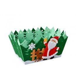 Ukrasna novogodišnja zelena korpica deda Mraz