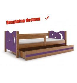 Dečiji krevet Elegant Adler ljubičasti 160x80 cm sa fiokom i dušekom