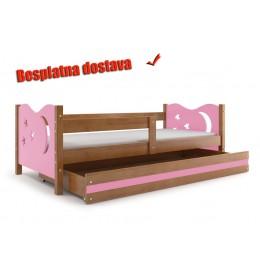 Dečiji krevet Elegant Adler roze 160x80 cm sa fiokom i dušekom