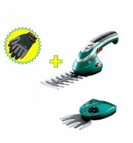 Set aku makaza za žbunje i travu + prskalica Bosch Isio III + rukavice