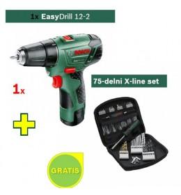 Akumulatorska bušilica-odvrtač Bosch EasyDrill 12-2 sa poklonom 1x75-delni X-line set