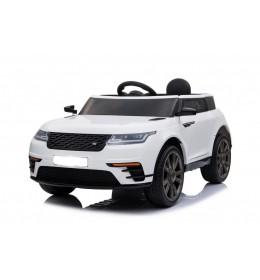 Auto na akumulator Land Rover 1 sa kožnim sedištem i mekim gumama Beli