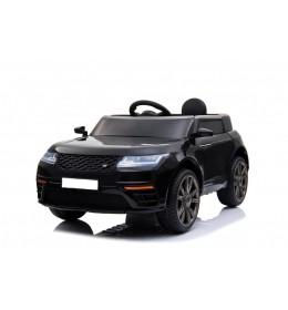Auto na akumulator Land Rover 1 sa kožnim sedištem i mekim gumama Crni